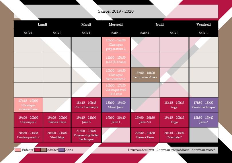 planning école danse Caluire 2019-2020